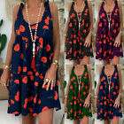Women's Ladies Loose Floral Print Sleeveless Bandage Mini Dress Summer Sundress