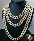 "Iced Out Cuban Chain 18"" 20"" 24"" Diamond Necklace Shiny Mens Hiphop Jewellery"