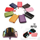 RFID Blocking Wallet Genuine Real Leather Credit Card Holder Zip Purse Men Women image