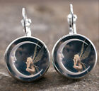New Fairy On The Moon Silver Trendy Glass Cabochon 18 Mm Lever Back Earrings