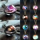 Universe Galaxy Glow In The Dark Double Sided Glass Dome Planet Necklace Pendant
