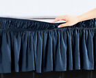 """Navy Blue Solid Elastic Ruffled Wrap Around Bed Skirt Easy Fit 16"""" Length (Drop) image"""