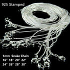 10pcs 16-28 Inches 925 Sterling Solid Silver 1mm Snake Chain Necklace Wholesale