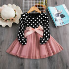 Kids Baby Girls Polka Dots Dress Long Sleeve Ribbon Bow Party Dresses Size 2-6