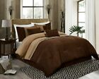 7-Piece Coffee Brown Western Lodge MicroSuede Pleated Striped Comforter Set image