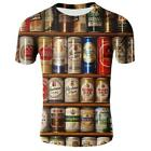 Cool Men's 3D Print Beer pattern Summer Short Sleeve Casual Tee T-Shirts Gifts