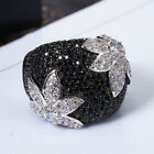 925 Silver Obsidian Black Gem Zircon Rings Engagement Jewelry Size6-10 Ring Gift