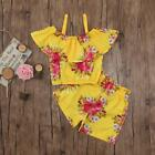 2Pcs Toddler Baby Kids Girls Floral Print Tops T-shirt+Shorts Outfit Set Clothes