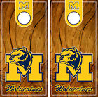 Michigan Wolverines Cornhole Wrap NCAAF Decal Wood Gameboard Skin Set YD125