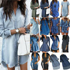 Womens Plus Size Long Sleeve Buttons Denim Mini Dresses Loose Casual Shirt Dress