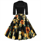 50s 60s Retro Hepburn Style Floral & Lips Swing Rockabilly Housewife Pinup Dress