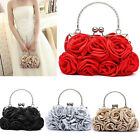 Women Elegant Rose Flower Pattern Clutch Bag Evening Party Bridal Handbag US  image