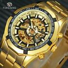 Royal Golden Men Watches Skeleton Automatic Steampunk Watch Mechanical Stainless image