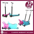 Kids 3 in 1 Push Scooter Ride On Toy With Seat Storage LED Light Up Wheels Child