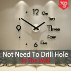 Huge Sticker Wall Clock Modern Home Design Decoration DIY Living Room Kitchen 3D