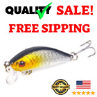 Bass Fishing Lures Minnow Hard Plastic Bait Treble Hook Catching for Fresh Water