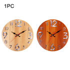 12inch Wall Clock Wooden Silent Non Ticking Decor Battery Operated Rustic Round