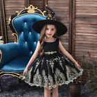 2PCS Kid Girl Halloween Fancy Witches Dress Cosplay Witch Hat Outfit Costume Set