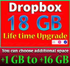 Dropbox Service - Upgrade +1 GB to +16 GB - Up To 18GB For Lifetime