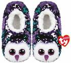 TY MOONLIGHT OWL SLIPPERS SEQUIN SMALL MEDIUM LARGE NEW WITH TAGS