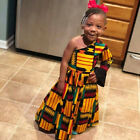 Toddler Kids Baby Girl Party African One Shoulder Long Sleeve Long Dress Outfit