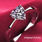 925 Silver Heart Cut 2ct White Sapphire Promise Wedding Ring Engagement Jewelry