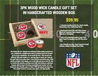 NFL Football 3pk WoodWickSoyWaxHandPouredTinWoodBoxed CANDLE GIFT SET Pick Team $59.95 USD on eBay
