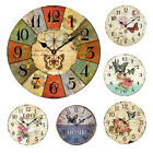 European Style Round For Home DIY Numerals Rustic Wall Clock Retro Flower Print