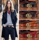 Luxury Women G-Style Buckle Leather Slim Belts Double G Logo For Jeans Dress