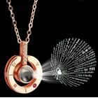 Rose Gold&Silver 100 languages I love you Projection Pendant Necklace image