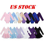 US Girl Kid Ballet Gymnastics Dance Leotard Dress Long Sleeve Tutu Skirt Costume