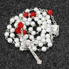 Catholic Pearl Beads Rosary Necklace Rose Lourdes Medal White Cross Crucifix 1
