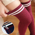 Fashion Women Girl Cotton Long Socks Stripe Warm Over Knee Thigh High Stocking