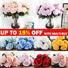 10 Heads Artificial Flowers Silk Rose Bouquet Wedding Garden Home Party Decor