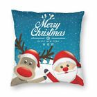 Christmas Reindeer Santa Claus Snowman Cushion Cover Square Throw Pillow Case