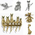 Retro Animal Cats Dog Family Pins Brooch Scarf Collar Clips Women Men Jewelry
