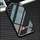 iPhone S Line Tempered Glass Carbon design Phone Case Cover All Models UK
