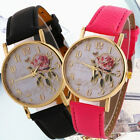 Chic Arabic Number Rose Flower Round Dial Faux Leather Band Quartz Wrist Watch image
