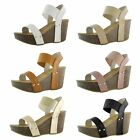 DailyShoes Chunky Cork Thick Wedge Elastic Strap Sandal Platform High Heel Shoes