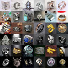 Women Men Vintage Stainless Steel Dragon Ring Gothic Punk Finger Band Rings Lot image