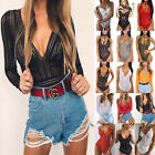 Womens Deep V Neck Leotard Lace Rompers Lingerie Bodysuit Jumpsuit Blouses Shirt