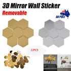 12x Wall Stickers 3d Mirror Hexagon Acrylic Removable Art Decal Home Decoration
