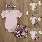 2PC Newborn Kid Baby Girl Outfit Clothes Romper Bodysuit+Flower Print Shorts Set