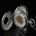 INFANTRY Mens Skeleton Mechanical Pocket Watch Steampunk Classic Stainless Stell