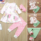 Infant Kids Baby Girl Floral Long Sleeve Tops Dress Pants Clothes Outfits Set US