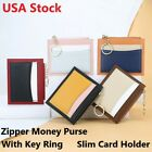 Slim Leather Wallets Money Clip Card Holder Case Zipper Coin Purse Key Ring USA image
