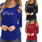 Women Long Sleeve Crisscross Strappy Pure Color Cold Shoulder T-Shirt Top Blouse