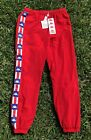 Kappa Authentic Red White Blue Track Pants Zip Pockets Regular Fit Joggers NEW!
