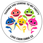 Personalised Baby Shark Family Birthday Party Round Stickers for Party/Sweet Bag