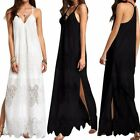 Women Summer Beach Slip Dress Lace Crochet Long Maxi Dress Sundress Shirt Dress
